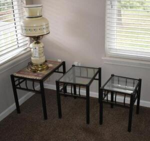 3-Piece Nesting Table Set with Lamp