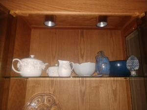 Tea Pot, Creamer, Sugar Bowl, Glass Egg, Etc.