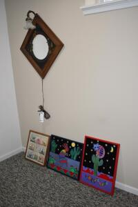 Lighted Mirror and Wall Hangings