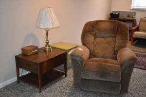 Lazyboy Recliner, Side Tables, Lamp and Radio
