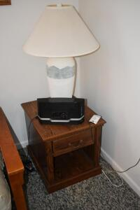 Side Table, Lamp and Radio