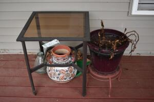 Small Patio Table and Plant Holders