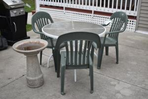 Patio Table, Chairs and Bird Bath