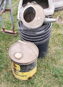 Vintage John Deere Bucket and Watering Bucket