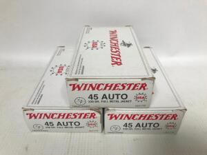 (3) Boxes of 45 Auto Ammo