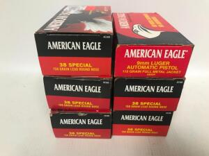 (5) Boxes of 38 Special Ammo, (1) Box of 9mm Ammo