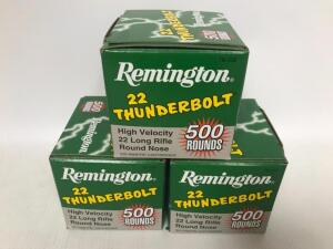 (3) Boxes of .22 cal Long Rifle Round Nose Ammo