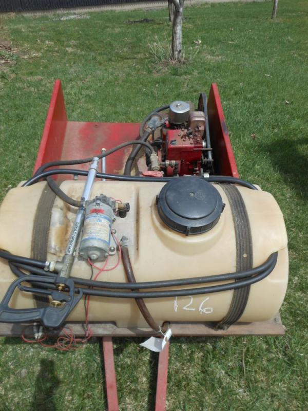 yard sprayer on lawn cart with Briggs & Stratton 3 HP motor
