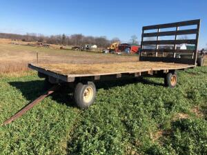 Flatbed Hay wagon on gear with back standard