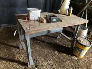 Workbench and Misc. Items, calf bottles, bottle holder, sheep shears and more