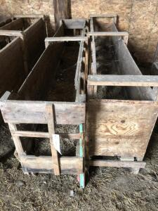 (2) Single sided wooden sheep feeders