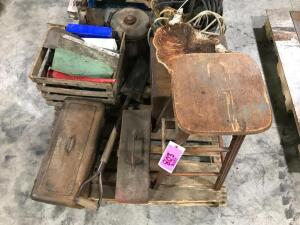 Pallet of Misc., Tool Boxes, Stool, Garbage Can