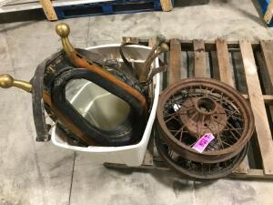 Pallet of Antique Wheels, Horse Collar