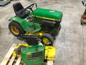 1974 John Deere 212 Lawn Tractor with Tire Chains and Snow Blade