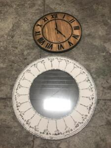 Wooden Clock and Mirror