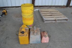 (3) gas cans and (5) 5 gallon buckets