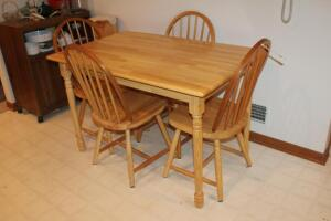 Wood Dining Room Table with (4) Chairs