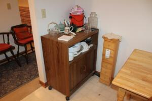 Mobile Kitchen Cart with Contents and Wood Cubby