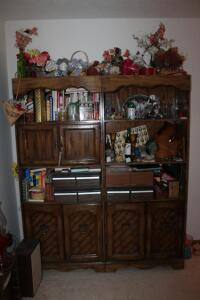 Wooden Cabinet with Contents