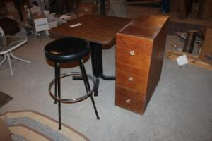 Table, Stool, Wooden Cabinet