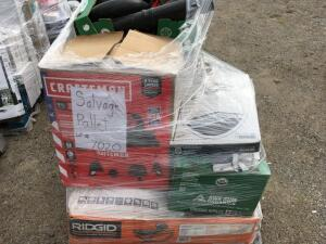 SALVAGE PALLET: Lot of Miscellaneous Items: 2: Rigid Wet Tile Saws, Craftsman Vacuum, Blue Hawk Table Saw, Leaf blower parts, Tools, & More (Missing P