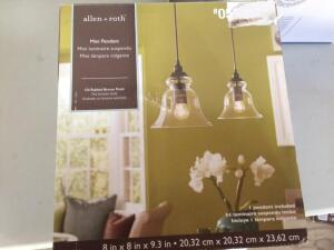 allen + roth 8-in Bronze Mini Clear Glass Pendant (Works Good, Globe Not Included)