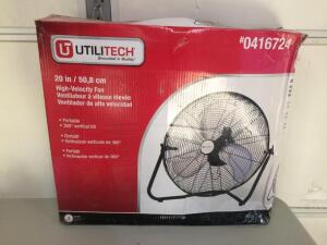 Utilitech 20-in 3-Speed Indoor Black/Powder Painting Personal Fan (Works Great, Stand is a Little Bent)