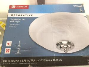 Utilitech 7105-04-L 2-sone 70-cfm White Bathroom Fan (Globe Not Included)