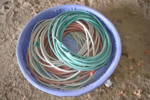 pool with garden hoses
