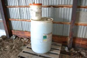 Barrel and pail of Hay Saver plus