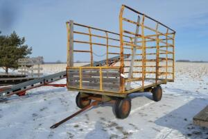 kicker bale wagon with metal rack frame