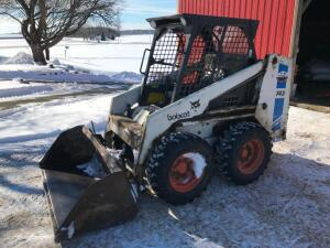 "1985 Bobcat 743 Skid Loader with 48"" Forks and Material Bucket"