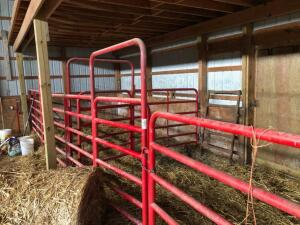 Livestock Gates in barn, 5 are 10' gates with 4' man gate, 1 is 10' gate, 1 is 12' gate