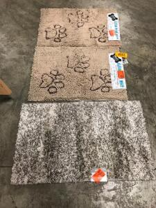 (3) Rugs - (2) Clean Paw and Stormy Gray 2 Ft x 3 Ft