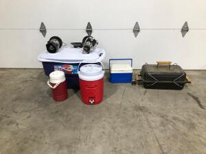 Camping Propane Grill, Large Cooler, Small Cooler, Small & Medium Water Cooler, (2) Propane Lanterns