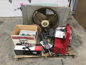 Pallet of Estate Tools - (2) Metal Fans, Stain Glass Maker, and Assorted Tools