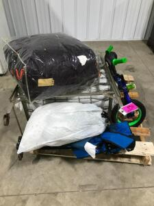 Pallet of Camping Items - Rollaway Bed/Linens, Chair, Kid's Bike