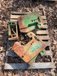 (6) John Deere Suitcase Weights, Front Bracket