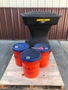 (3) 5 Gallon Buckets Biodegradable Cleaner and Mirachem Cleaner Machine - New