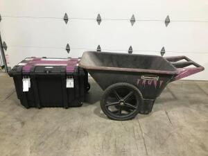 Rubbermaid Cart and Husky Job Box (Missing Wheel)