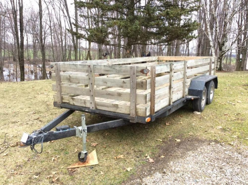 16ft  Tandem Axle Trailer w/ Homemade Wood Sides