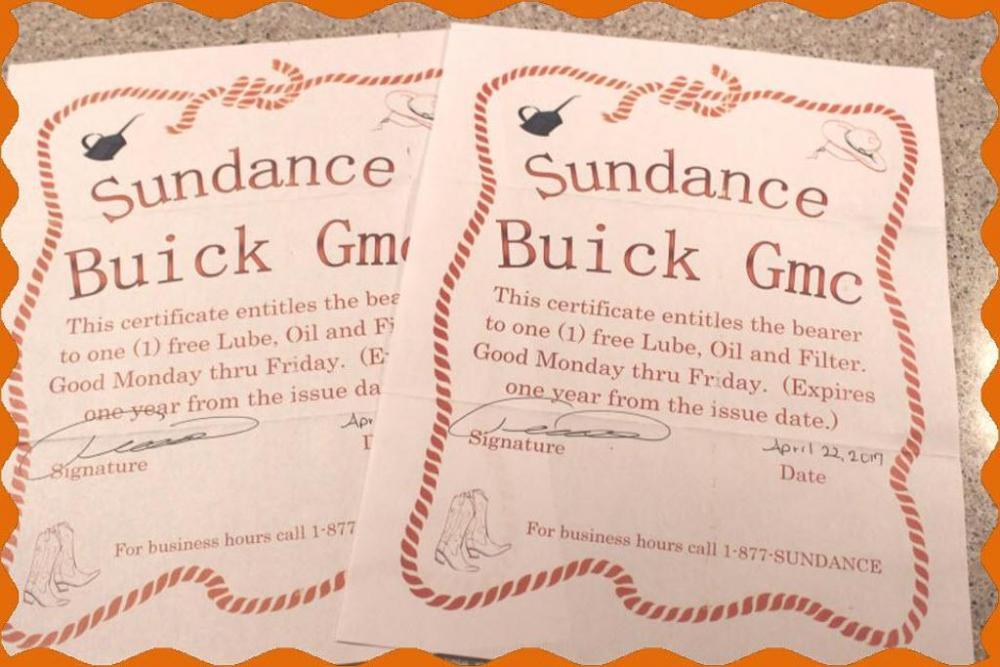 sundance buick gmc two oil change gift certificates