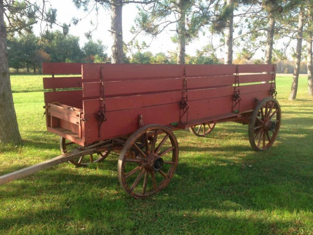 Combination Rack Wagon With Wooden Wheels On Moline Running Gear
