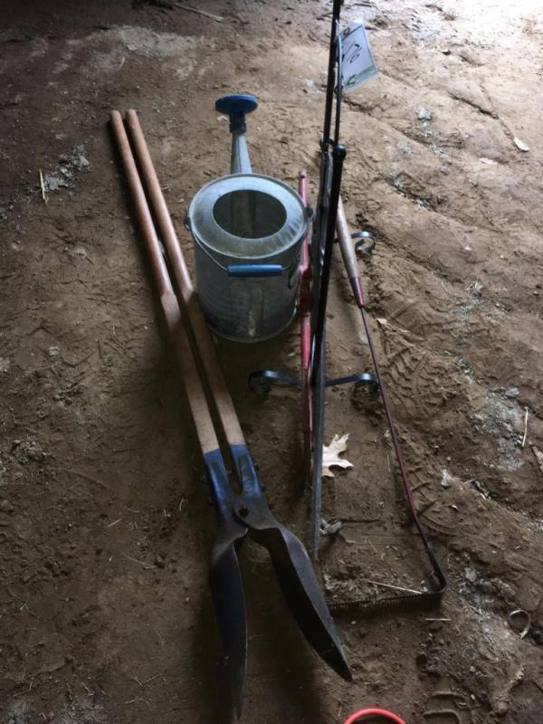 Lot 176 of 188: Post Hole Digger, Water Can, Weed Whip, Flower Stand and Homemade Weather Vane Top