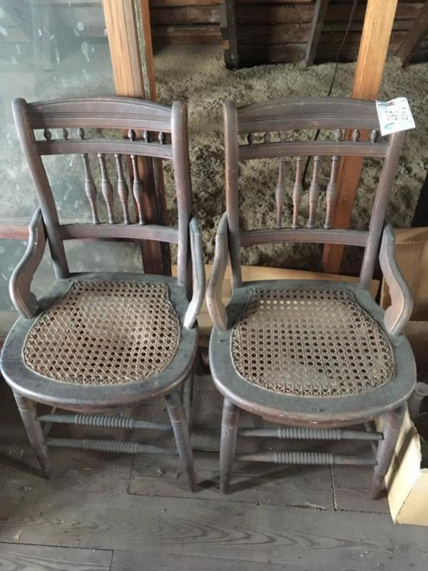 Pair Of Cane Seat Wooden Chairs