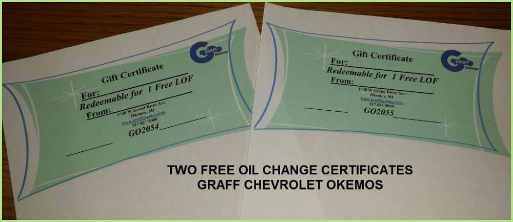 oil change gift cert
