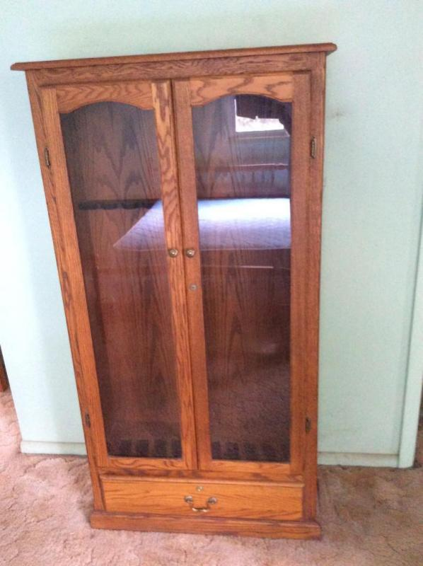 Wood Gun Cabinet With Glass Inserts