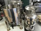 (4) Stainless Steel Hot Beverage Serving Dispensers - 2 have brass feet and legs