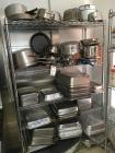 Steel Rack and Contents of Pans, Pots and Strainers