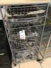 Metal Cart on Casters with drawers of Silverware and serving untencils